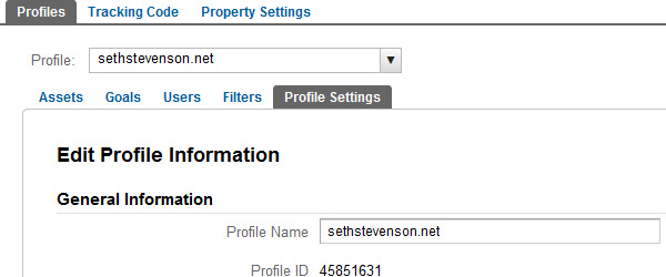 Google Analtyics Profile ID