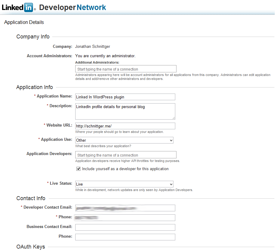 oauth2 and the linkedin api  u2013 a wordpress cv  r u00e9sum u00e9 plugin