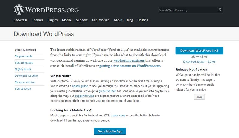Download WordPress from Official Repo