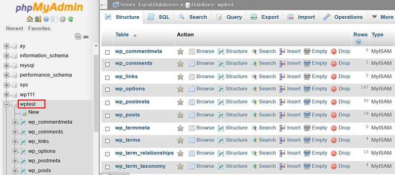 phpMyAdmin Database Name