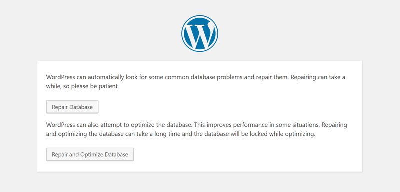 WordPress Repair Database Page