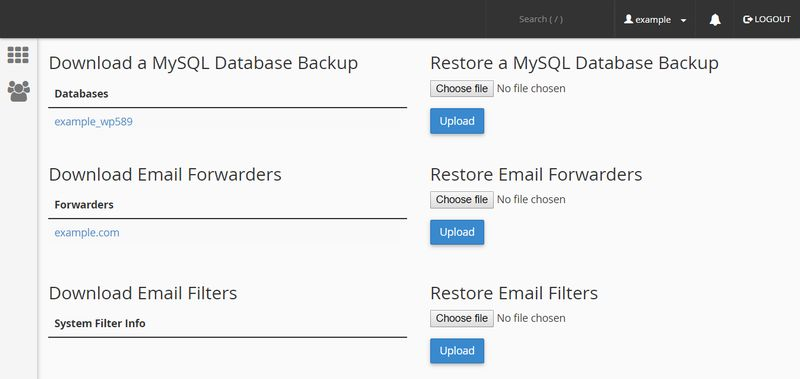 WordPress Backup Options cPanel