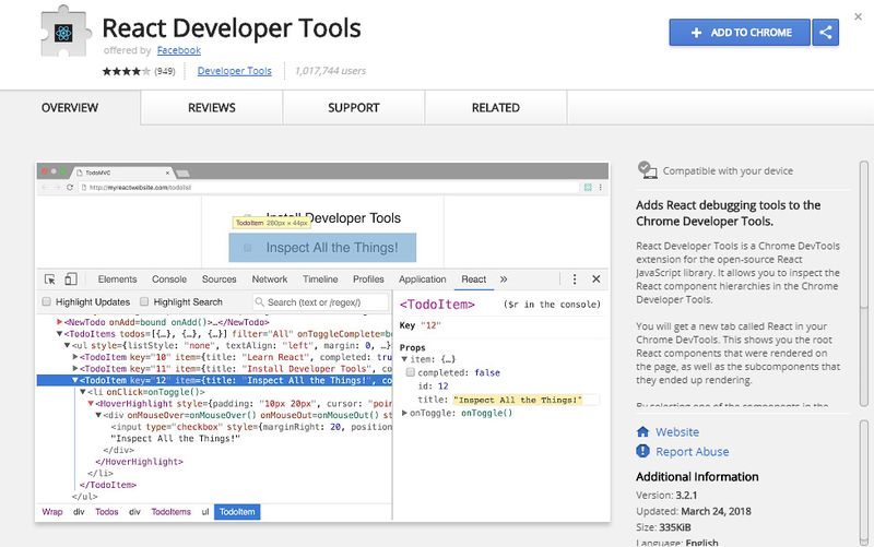 React Developer Tools for Chrome