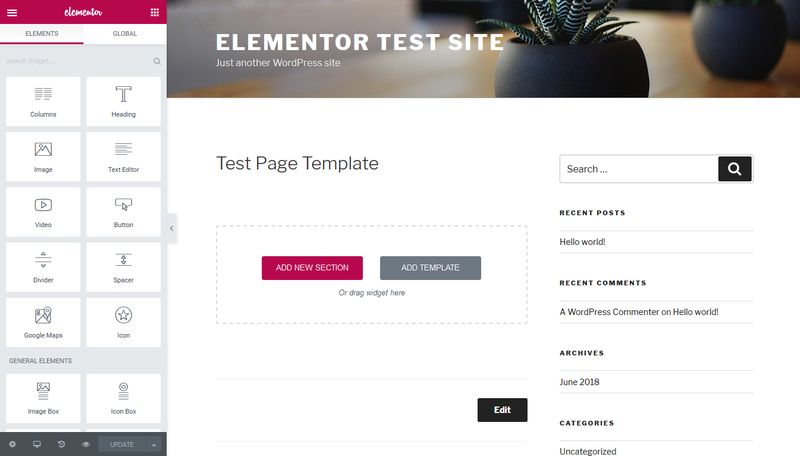 Elementor Site Builder