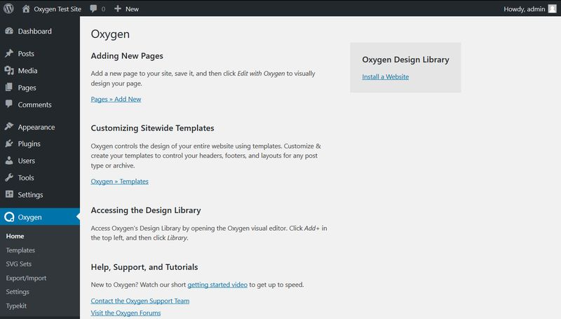 Oxygen WordPress Admin