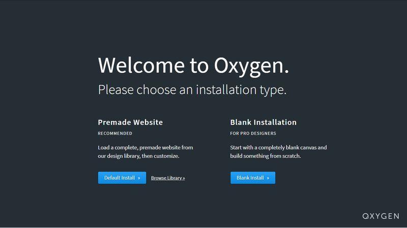 Oxygen 2.0 Starter Screen