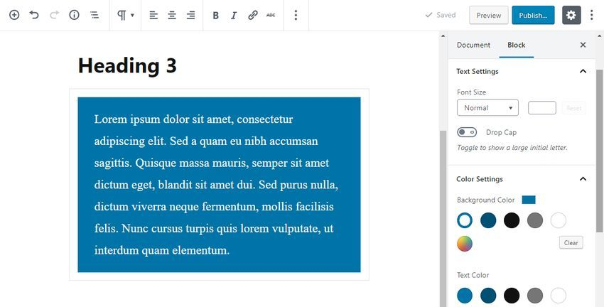 Gutenberg Settings of the Paragraph Block
