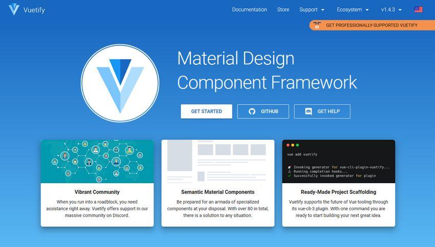Vuetify Component Framework