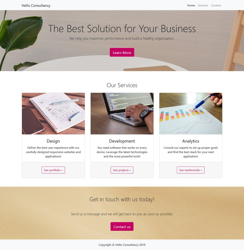 Full Landing Page with Bootstrap 4