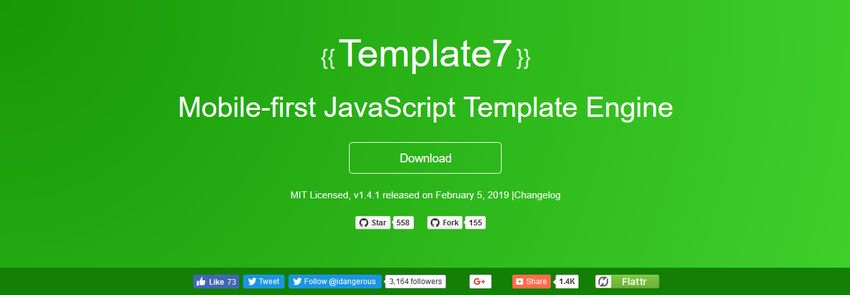 Template7 mobile-first JavaScript Template Engine