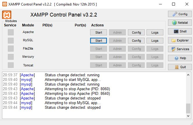 XAMPP Server Start Modules