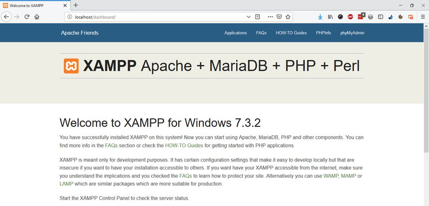 XAMPP Server Welcome screen