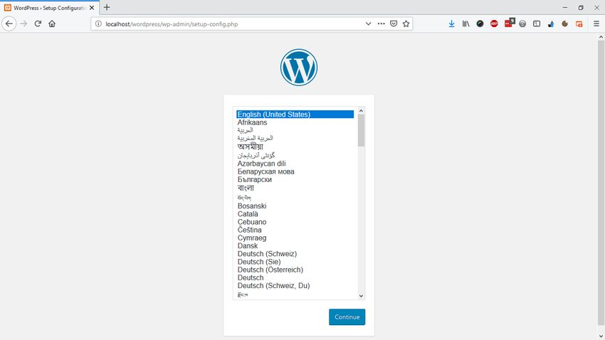 WordPress installation screen with XAMPP Server