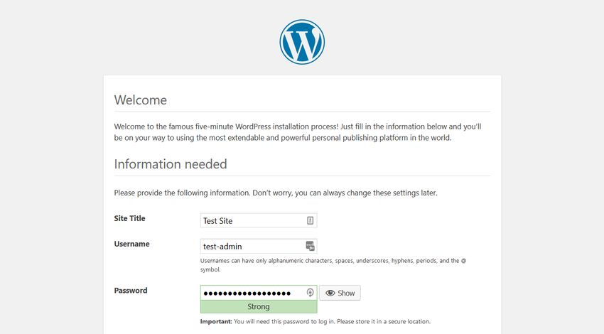 XAMPP Server WordPress Site Info