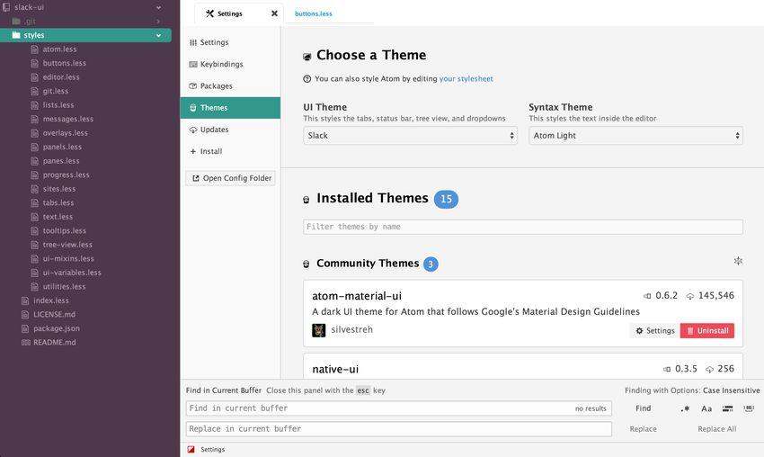 Slack UI Atom theme
