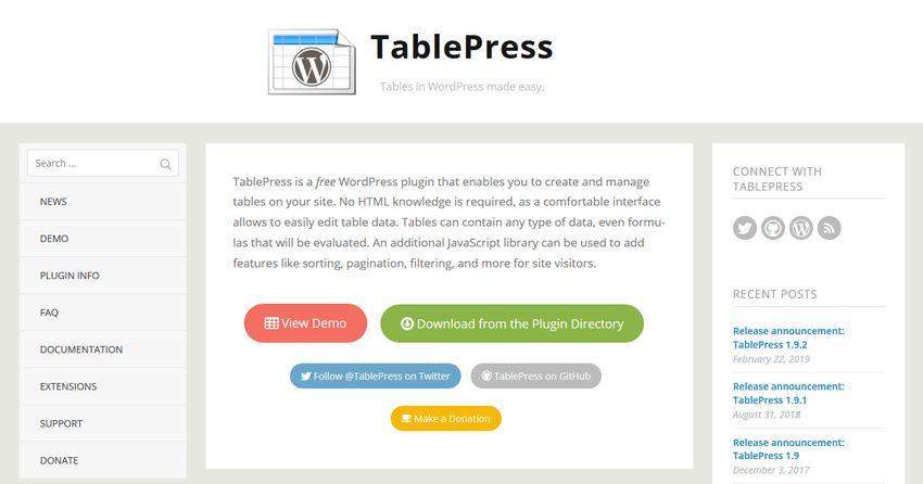 TablePress - Best WordPress Table Plugins