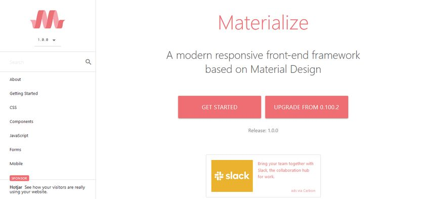 Materialize UI Component Library