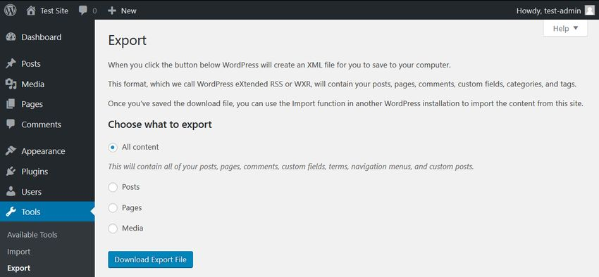 WordPress Export Content