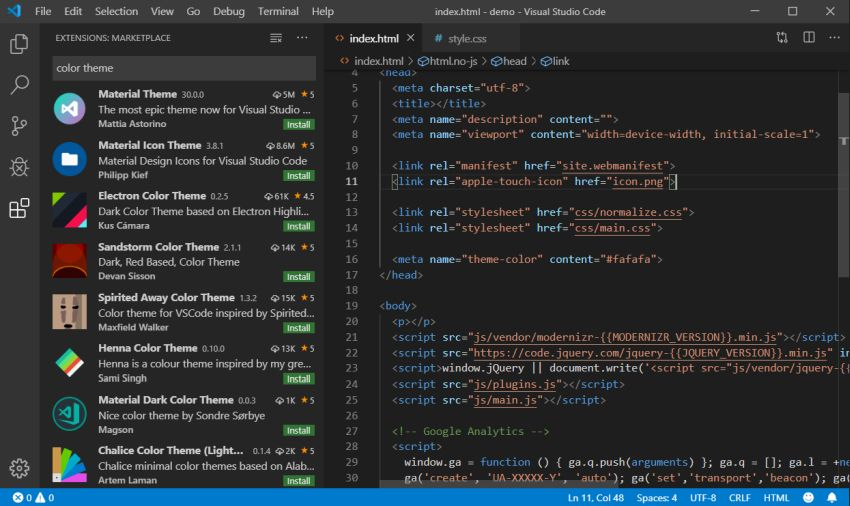 Search Visual Studio Color Themes