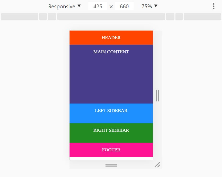 Holy Grail Layout with Flexbox on mobile devices